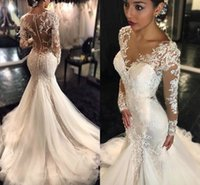 Vintage Lace Long Sleeve Mermaid Wedding Dresses 2021 African Vestido De Novia Covered Buttons with Appliques Ivory Beach Bridal