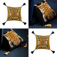 DunxDeco Yastık Örtüsü Dekoratif Kare Yastık Kılıfı Vintage Sanatsal Kaplan Baskı Püskül Yumuşak Kadife Coussin Kanepe Sandalye Yatak 967 R2