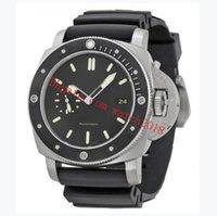 럭셔리 시계 1950 아마 간식 47mm 기계 자동 자동 블랙 다이얼 스틸 베젤 고무 스트랩 망 손목 시계 Origina 상자 종이