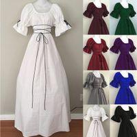 Kleid Frauen Mädchen Gothic Renaissance Victorian Chemise Mittelalterliche Retro Bauern Wench Blütenblatt Sleeve Resist Top Kostüm # T2Q