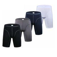 Algodão homens cuecas de estilo longo desgaste resistente shorts esportes aptidão boxer briefs masculino plus size m-3xl boxers
