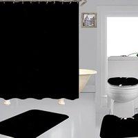 Простые печатные занавески для душа наборы битник высококачественный четырехсечный костюм ванная комната противостояние нескользящая дезодорант должен ванны туалетные коврики FAS