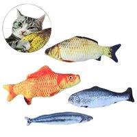 2021 Yüksek Kaliteli DHL Peluş Kedi Çocuk Oyuncak Simülasyon Balık Şeklinde Bebek Pet Yastık Isırma ve Köpek Malzemeleri Kuyruk Elektrik Atlamak gerekir