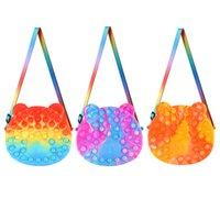 Fidget Toys Bear Push Bubble Fashion Crossbody Shoulder Bag Handbag Autism Needs Sensory Squeeze Stress Reliever Adult Kids Gift