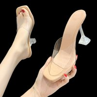 Dress Shoes Transparent High Heels Square Toe Sandals Summer Woman Clear Pumps Wedding Jelly Buty Damskie Slippers