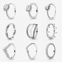 Femmes Anneaux de mariage 925 Sterling Sterling Cubic Zirconia Fit Pandora Style Femme Bijoux Lady Anniversaire Engagement Cadeau avec boîte originale