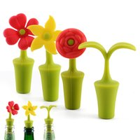 Silicone Flower Wine Stopper Reusable Beer Champagne Whiskey Bottle Cork Vacuum Sealed Cover Bar Accessories Barware