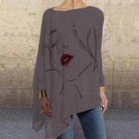 Women's Blouses & Shirts Women O Neck Long Sleeve Loose T-Shirts Female Oversized Tops Tees Vintage Abstract Face Print Irregular Shirt Plus
