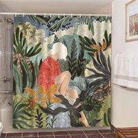 Shower Curtains Green Jungle Bathroom Set With White Hair Woman Art Printed Curtain Waterproof Polyester
