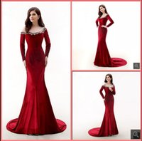 2021 Latest style red mermaid prom dresses long sleeve modest beading crystals elegant party gowns formal court train vintage muslim women evening dress on sale