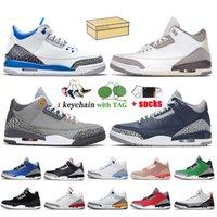 Nike Air Jordan 3 Retro 3 3s Jumpman Erkek Basketbol Ayakkabı 3s Lazer Turuncu Retro UNC Kırmızı Çimento Varsity Kraliyet Fragment Katrina Erkek Eğitmenler Spor ayakkabılar