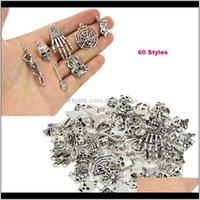 Mix 60 Stil Antike Silber Tier Schädel Anhänger Lose Perlen Charme Für Halloween DIY Schmuck Für Europäische Armband Halskette Duivh NbsX6