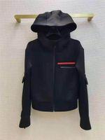 Frauenjacke Hoodie Herbst Frühlingsstil Slim for Damenjacken Outwear Terry Qualitätsmantel Windjacke mit Gürteltasche Button Klassische Kleidung S-L