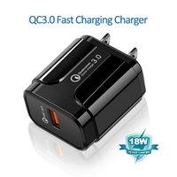 QC3.0 18W شاحن USB سريع شحن سريع الاتحاد الأوروبي الولايات المتحدة المكونات محول للهاتف المحمول سامسونج Xiaomi
