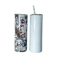 20oz Straight Sublimation Skinny Tumblers With a Plastic Straw White Double Wall 304 Stainless Steel Insulated Coffee Mug A17