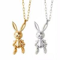 Collier de charmes en peluche d'embuscades Collier mignon de lapin actif Pendentif long pendentif 925 Sterling argent de luxe bijoux