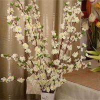 인공 체리 봄 매화 복숭아 벚꽃 가지 실크 꽃 홈 결혼식 장식 꽃 플라스틱 꽃다발 65cm 화환