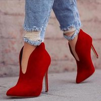 Boots Sexy Women Autumn High Heels Ankle Shoes Solid Pointed Toe Booties Feminina Woman Wedding Party 2021