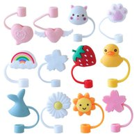 Creative Home Silicone Straw Cover Reusable Water Splash-proof Plug Cover Sunflower Cherry Rainbow Cat Claw Dust Cap