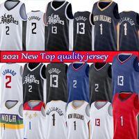 Kawhi 2 City Leonard Paul 13 George Basquete Jersey Los Zion 1 Williamson Jerseys 2021 New Black White Men T-shirt Angeles Bordado Logos de Alta Qualidade
