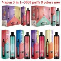 Orijinal Vapen 3in1 3000Puffs Tek Kullanımlık E Sigaralar 3 * 3.2 ml Ön Dolgulu Vape Kalem Hava Akımı Sistemi Taşınabilir Vapor Kiti Seti