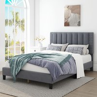 Ganzbettrame mit einstellbarem Kopfteil, Schlafzimmermöbeln, Betten, gepolsterter Plattform, Bettstead, Matratzenfundament, Hölzerne Slats-Unterstützung