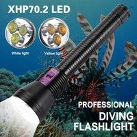 Фонарические фонари Горелки Pocketman 20000LM Дайвинг 3 * XHP70.2 Светодиодный белый / желтый свет 250 м подводный погружение горелки Используйте 3 * 26650 аккумулятор