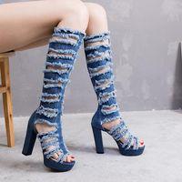 Deep Toe über dem Knieloch Jean Stiefel Frauen Lange enge klobige Ferse Sommer Plattform High Heels Designer Schuhe