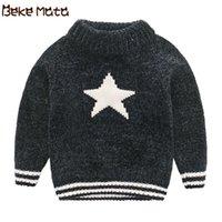 Cardigan Beke Mata Baby Sweater Inverno 2021 Quente de malha criança Boy Swater Kids Pullover Thick Wool Children Suéteres para 2-7 anos
