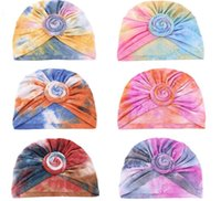 Women Turban Tie dyeing Headwrap Colorful Printed Pre-Tied Flower Knot Bonnet Hat for Girls