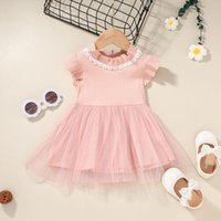 Baby Girls Lace Tulle Vestidos de tul Verano 2021 Niños Boutique Ropa Coreano 0-2T Niños Niños Niños Vestido Lindo