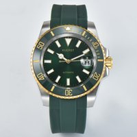 NEW Men watches Luminous Water proof Two-tone ceramic bezel Automatic movement Sapphire glass Sports rubber strap Green face Wristwatches