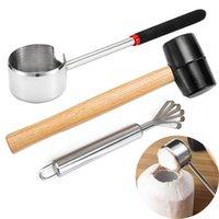 Kokosnötöppnare köttborttagning verktyg gummi mallet för unga kokosnötter matkvalitet rostfritt stål köksredskap xbjk2103
