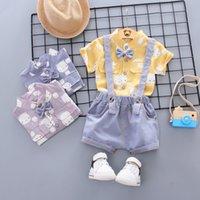 2021 Verano Desgaste de los niños Dos piezas Conjunto de camisa de manga corta de oso coreano Traje casual Ropa de bebé para hombre