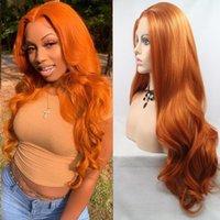 Synthetische Perücken Körperwelle Orange Spitze Frot Perücke Transparent Farbige Faserhaar Natürliche Linie Hitzebeständigkeit für schwarze Frauen