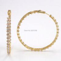 Hoop & Huggie 60mm Bling Princess Cut Stones Baguette Earrings Big Hoop-Earrings Gold Plated Rhinestone Zirconia Charm