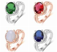 Personalited Red Ruby Ring Real 18K Rose Gold Plated Genuine SWA Element Austrian Crystal Girls Rings YRWR023