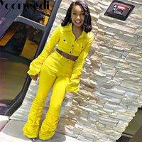 Два куска платье yooneedi 2021 осенью дизайн сексуальные 2 шт. Джинсовые женщины набор цветных сплошных воротник воротника и джинсы воротника (продано отдельно) PN
