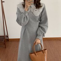 Casual Dresses Dressed in doll lace with collar plus, thick velvet dress long sleeves and high waist, fashion autumn TRPQ
