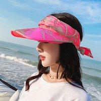 2021 Женский пляж лето путешествия солнцезащитный крем шляпа путешествует каникулы мода диких солнца шляпы для женщин с коробкой