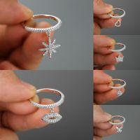 Cute Heart Crown Snowflake Snowflake Dangle Rose Gold Color Stacking Shining squilli per le donne Anello di fidanzamento di cristallo di cinturini