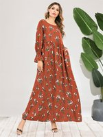 Повседневные платья арабские элегантные этнические цветочные макси с максимум шеи с длинным рукавом стройная высокая талия свинг индейка мусульманская исламательная одежда оранжевая осень