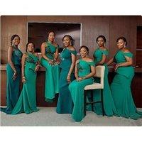 緑のブリッジテーブルのドレスマーメイドワンショルダードレスブライドメイドローブ安いプラスサイズのドレス半袖