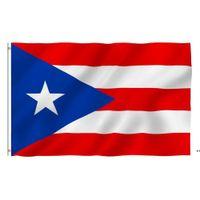 بويرتو ريكو العلم الوطني 3x5ft 150x90 سنتيمتر 100d 100٪ البوليستر راية النحاس الحلقات للزينة شنقا الإعلان البحرية سفينة NHE8398