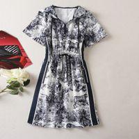 802 XXL 2021 Milan tarzı pist elbise yaz elbise kapüşonlu kısa kollu marka aynı stil imparatorluğu bayan elbise moda yüksek kalite olarak
