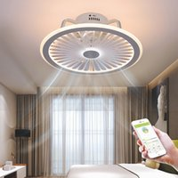 현대 LED 천장 팬 조명 앱 및 원격 제어 음소거 3-wind 조절 속도 Dimmable 천장 램프 거실 실내 조명기구 Linumiare