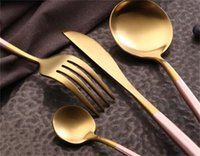 304 Louça Branca Rosa Set De Aço Inoxidável De Aço Inoxidável Conjunto De Faca De Faca De Forquilha De Café Colher Teaspoon Talheres Talheres Cozinha Silverwar 210 V2