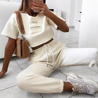 Womens Designer Solid Color Tracksuits Fashion Short Leeve Crop Top Wide-Waisted Long Pants Womens 2PCS Sets Casual Females Clothing