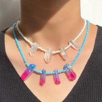 Chokers Handmade Rice Beads Irregular Crystal Natural Stone Pendant Necklace For Women Rainbow Color Beaded Choker Boho Jewelry