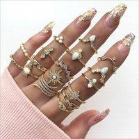 17 Adet / takım Moda Bohemia Yaprak Kristal Taç Yüzük Kadınlar Için MIDI Yüzük Seti Süs Kız Knuckle Yüzük Takı Hediye